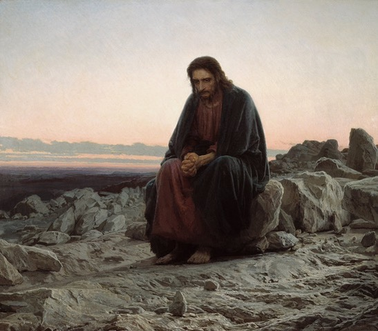 A painting of Jesus in the desert.